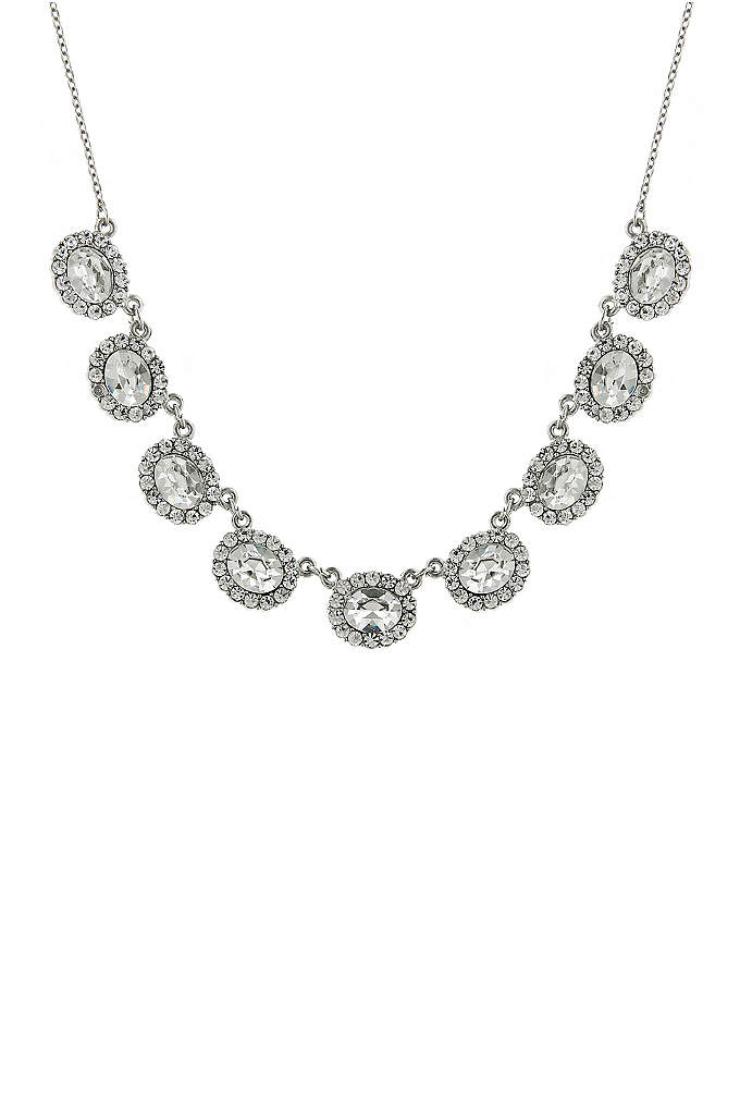 Oval Crystal Collar Necklace - Glittering clear crystals create a sparkling collar that