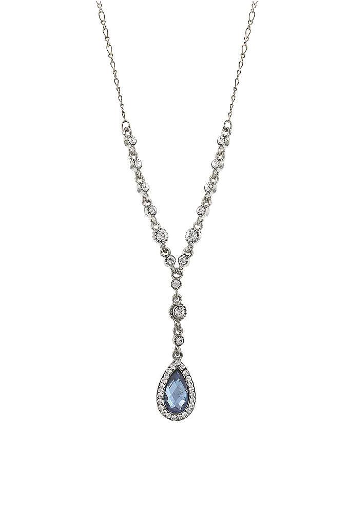 Blue Crystal Teardrop Y-Necklace - A dazzling