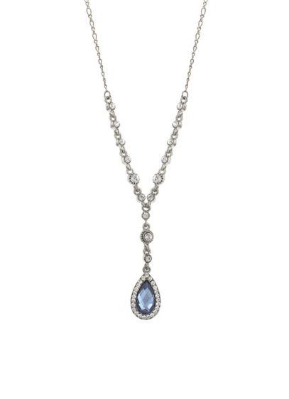 Blue Crystal Teardrop Y-Necklace - Wedding Accessories