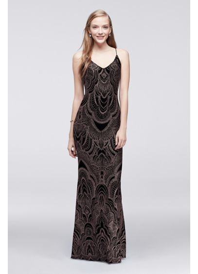 Long Slip Dress with Glitter Print - Davids Bridal