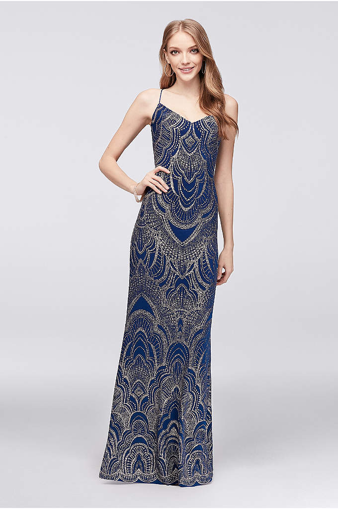 Long Slip Dress with Glitter Print - Topped with a mendhi-inspired glitter motif, this spaghetti-strap