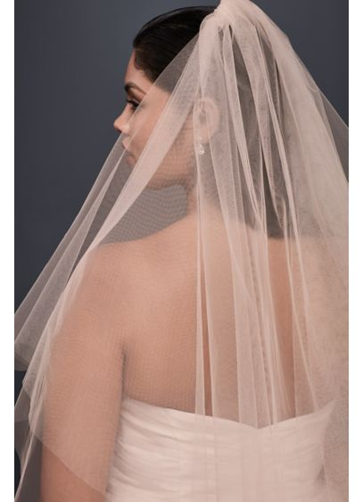 Two-Tiered Whisper Pink Fingertip Veil - Wedding Accessories