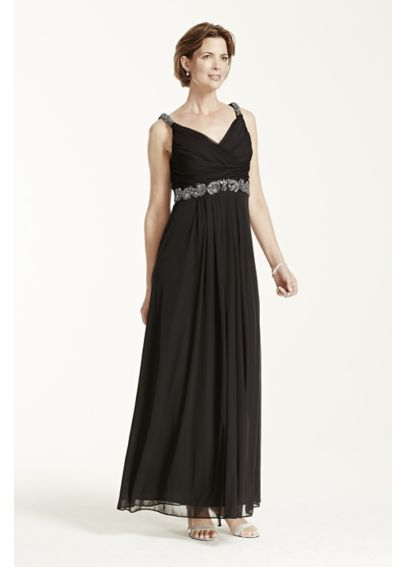 Jersey Dress with Embellished Waist and Straps 49418D