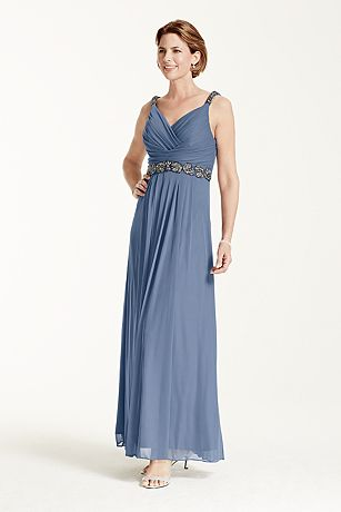 Jersey Dress with Embellished Waist and Straps