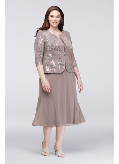 Sequined chiffon tea length dress and jacket set david 39 s for Tea length wedding dress with bolero jacket