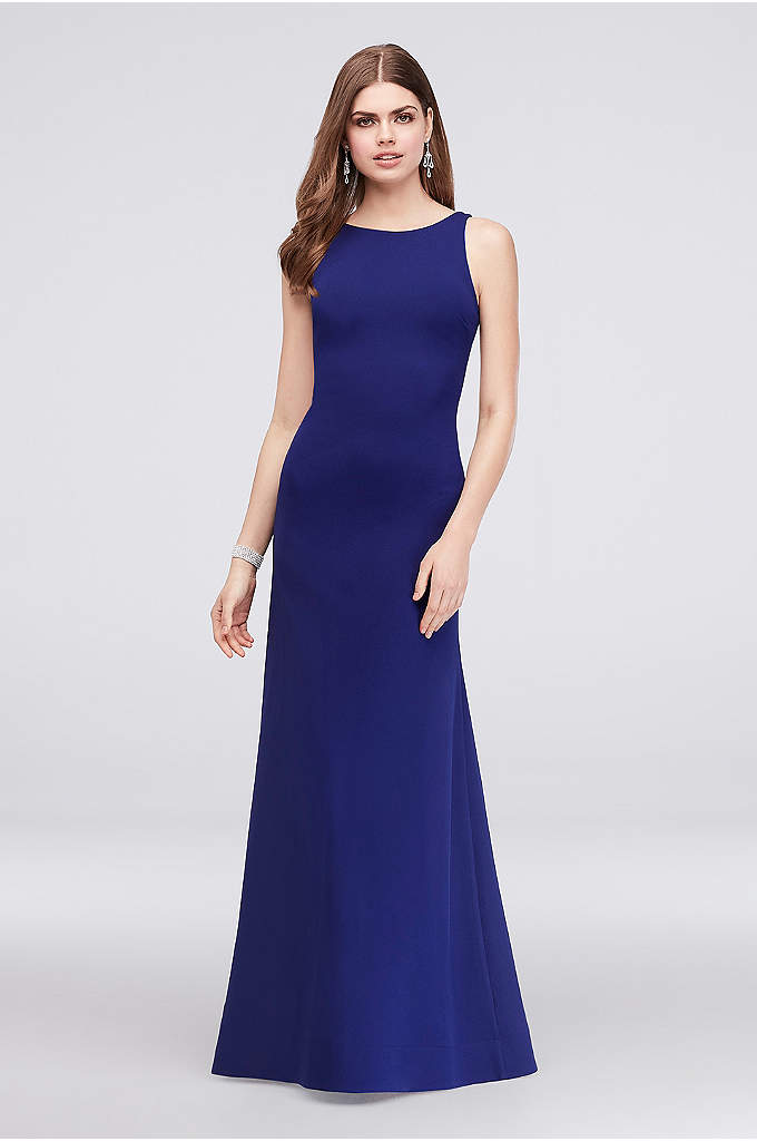Crepe Tank Mermaid Gown with Low Back and - Simple in the front, statement in the back.