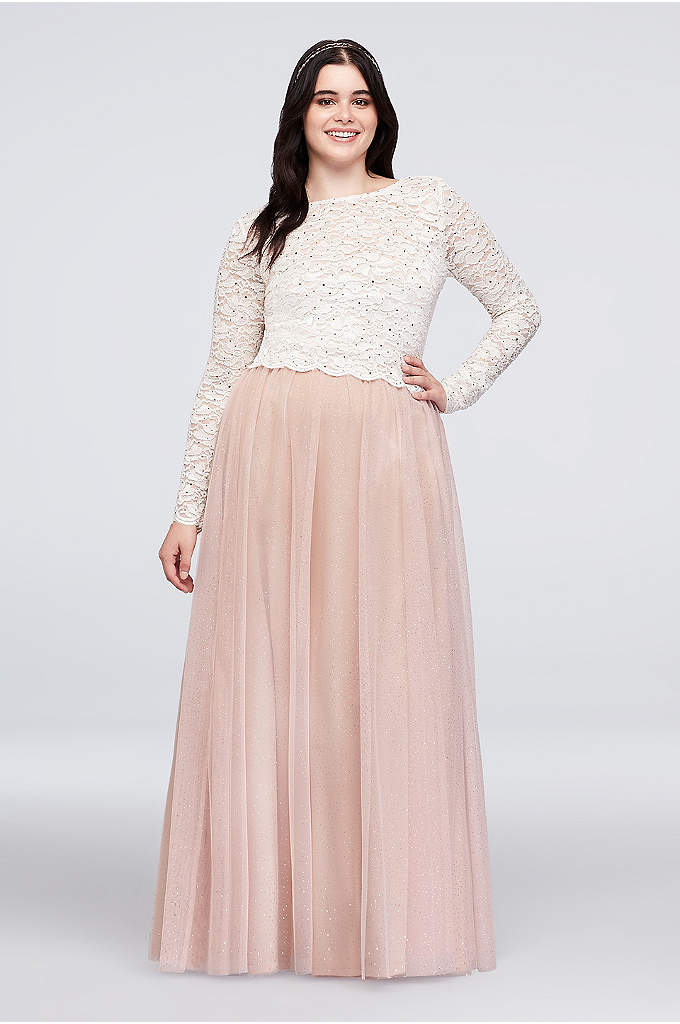 Dotted Lace Top and Tulle Skirt Plus Size - A perfect pairing of glitter lace and glitter
