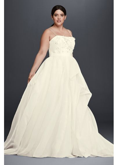 A-Line Plus Size Wedding Dress with 3D Flowers 4XL8CR341603