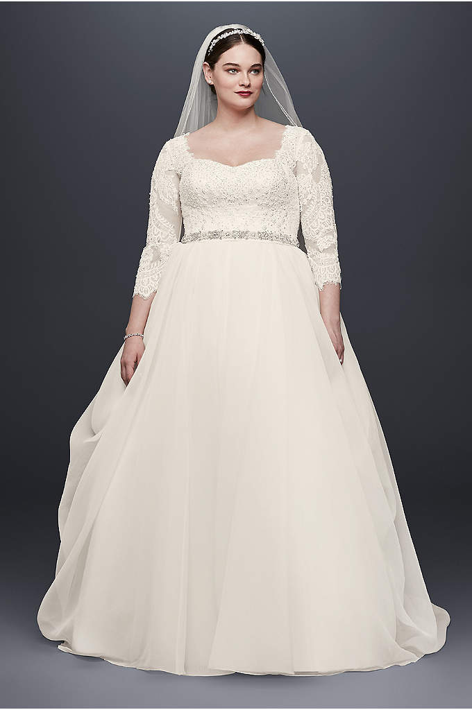 Oleg cassini strapless ruffled skirt wedding dress david for Plus size wedding dresses with color and sleeves