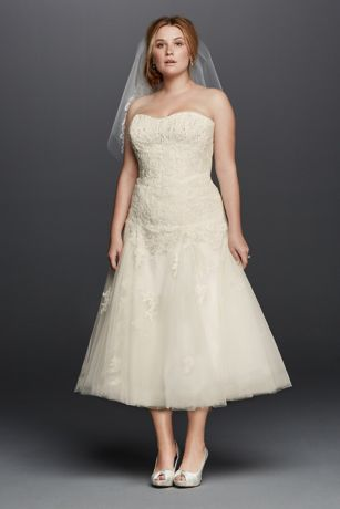 Oleg Cassini Plus Size Tea Length Wedding Dress   David's ...