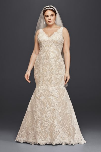 oleg cassini plus size corded lace wedding dress | david's bridal