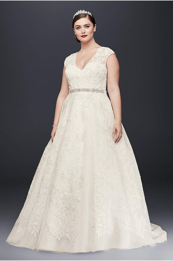 All over beaded trumpet plus size wedding dress david 39 s for All over beaded wedding dress