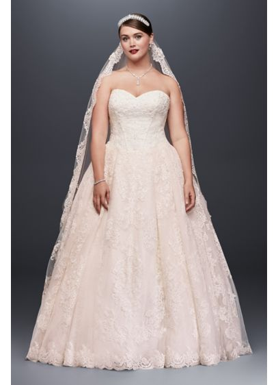 Plus size beaded lace applique wedding ball gown david 39 s for Plus size beaded wedding dresses