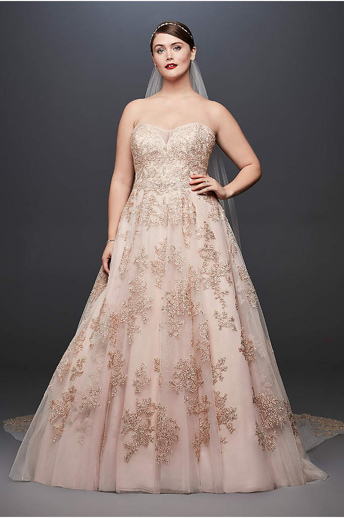 Metallic Lace Applique Plus Size Wedding Dress - Metallic appliques lend this illusion-bodice plus-size A-line gown