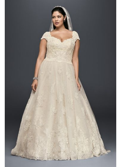 Cap sleeve plus size wedding dress with lace david 39 s bridal for Plus size champagne colored wedding dresses