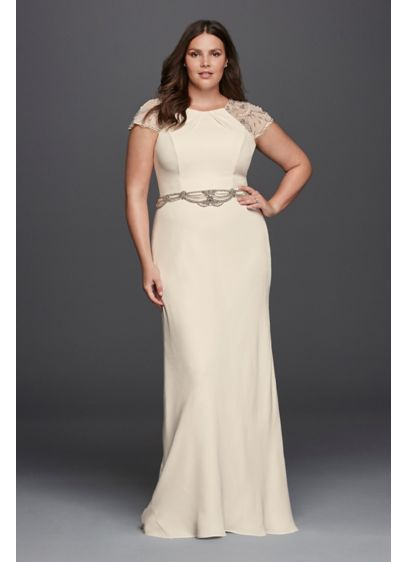Beaded plus size sheath wedding dress david 39 s bridal for Plus size sheath wedding dress