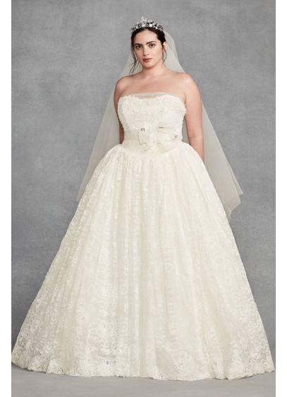 White by vera wang plus size corded wedding dress david for Vera wang wedding dress size chart