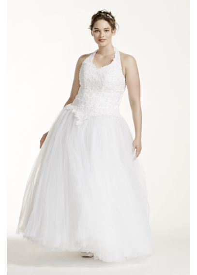 Beaded Halter Tulle Plus Size Wedding Dress 4XL96280