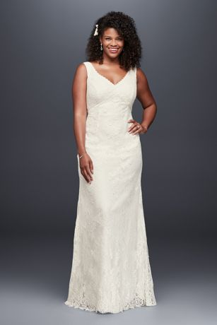 Lace Plus Size Wedding Dress with Floral Detail | David\'s Bridal
