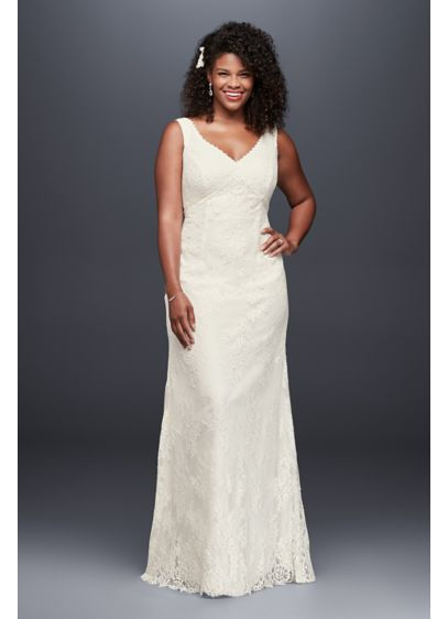 Lace plus size wedding dress with floral detail davids for Davids bridal beach wedding dresses