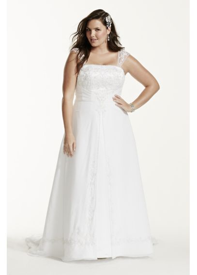 Satin Wedding Dress with Detachable Cap Sleeves 4XL9NTV9010