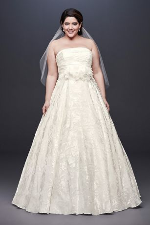 Floral Organza A-Line Plus Size Wedding Dress - A skirt crafted of tulle, netting, and crinkle