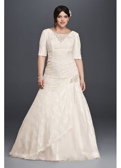Lace Plus Size Wedding Dress with Elbow Sleeves 4XL9SLYP3344