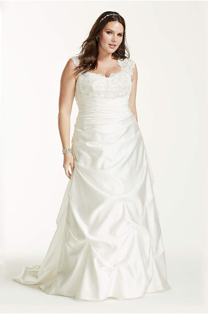 Cap Sleeved Side-Draped Plus Size Wedding Dress - Romantic and luxurious, this satin cap sleeved A-line