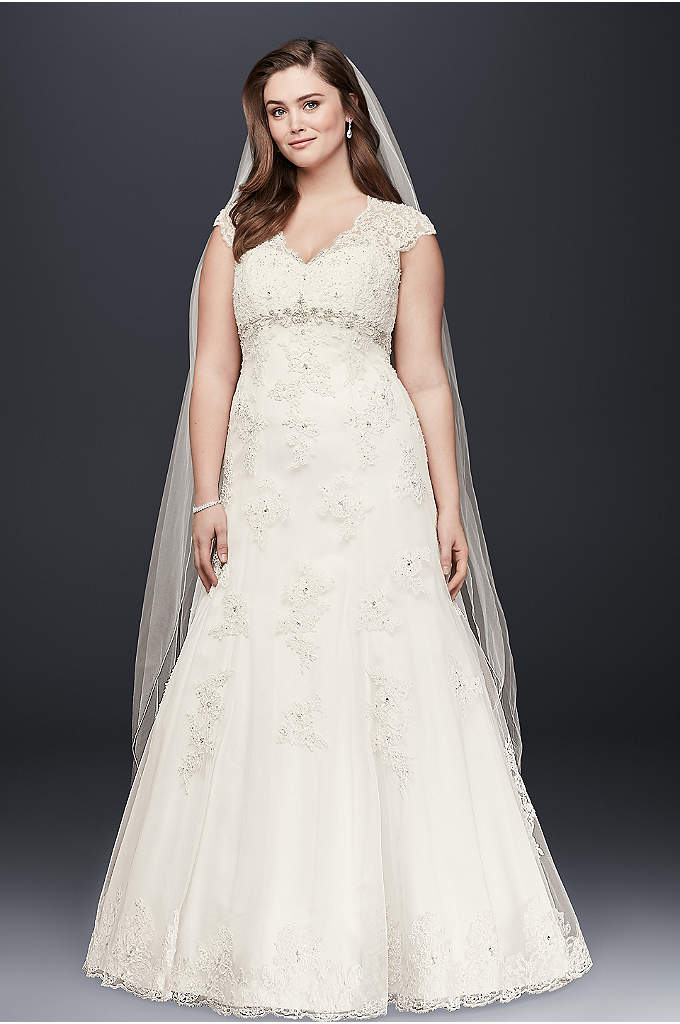 Lace Over Satin Plus Size Wedding Dress - Romantic and feminine, this A-line gown mixes subtle