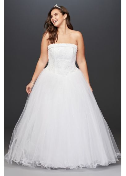 Tulle Plus Size Wedding Dress with Beaded Satin 4XL9T8017