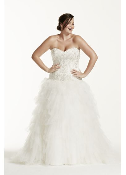 Ruffled tulle drop waist plus size wedding dress davids for David bridal rental wedding dresses