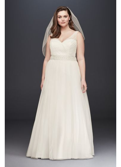 A line tulle plus size wedding dress with beading david for Plus size after wedding dress