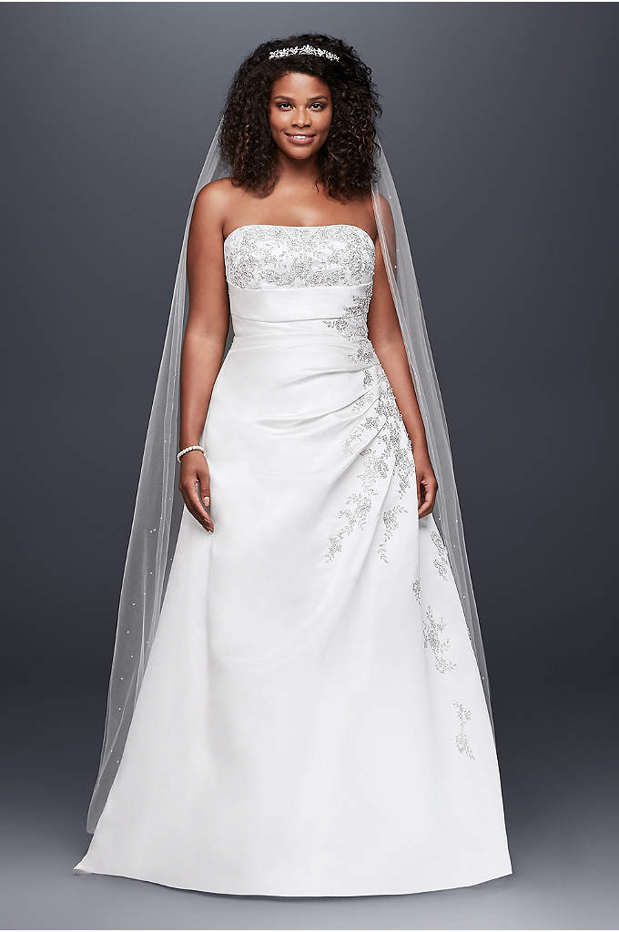 Extra Length A-line Side Drape Strapless Gown - A-line side drape strapless gown with beaded lace