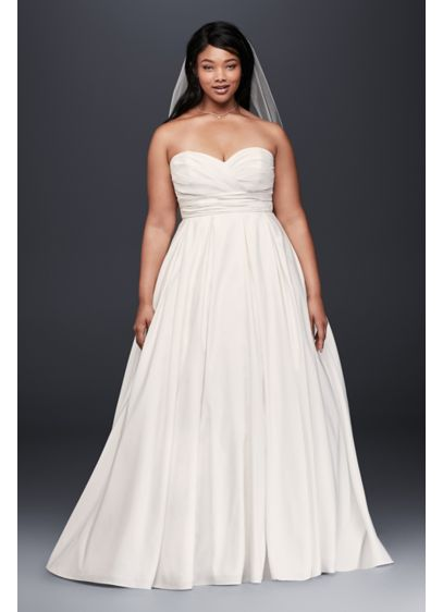 Ruched empire waist plus size wedding dress david 39 s bridal for Empire waist plus size wedding dress