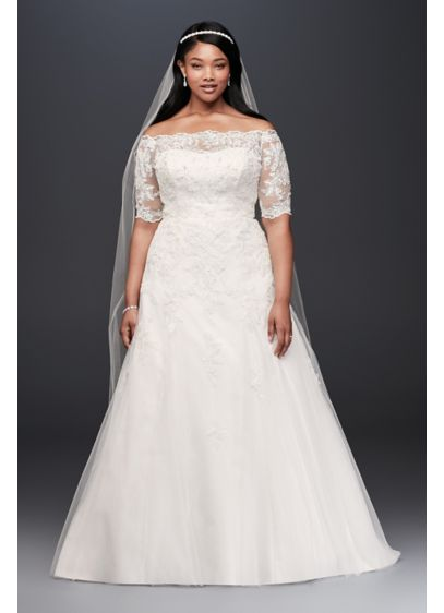 Jewel 3 4 sleeve illusion plus size wedding dress david for Plus size illusion wedding dress