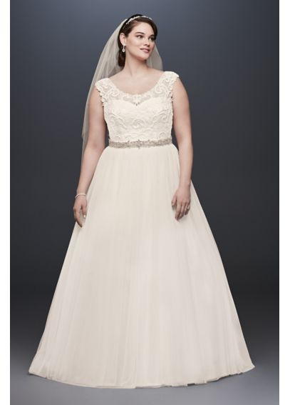 Tulle Plus Size Wedding Dress with Illusion Neck 4XL9WG3741