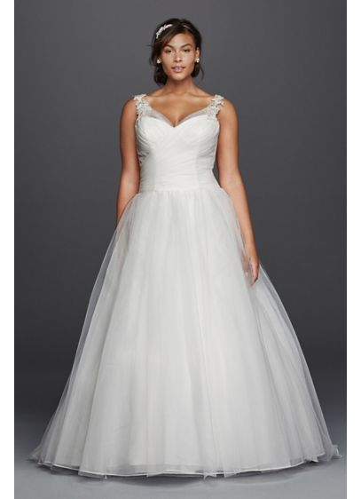 Tulle plus size wedding dress with illusion straps david for Plus size wedding dresses with straps