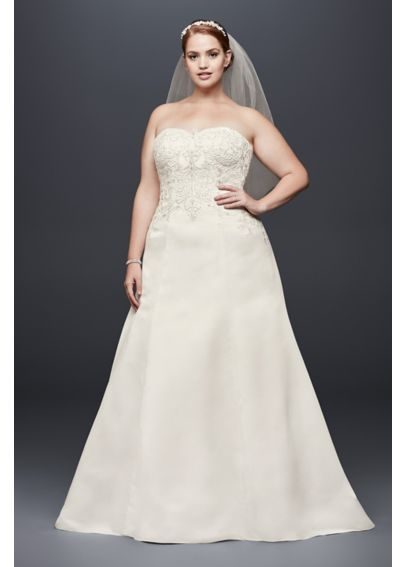 Satin Strapless A-line Plus Size Wedding Dress 4XL9WG3788