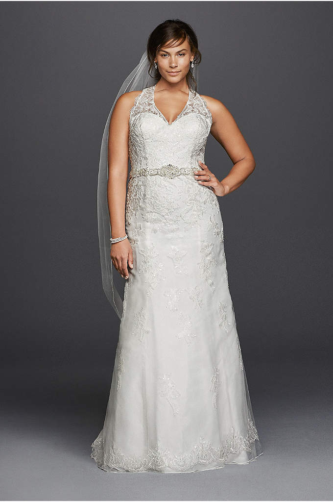 Jewel Lace Plus Size Wedding Dress with Halter - Striking details make this classic tulle A-line wedding