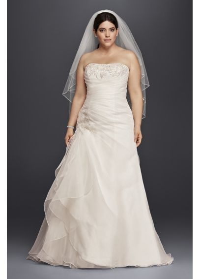 Organza and Lace Plus Size Ruched Wedding Dress 4XL9WG3807