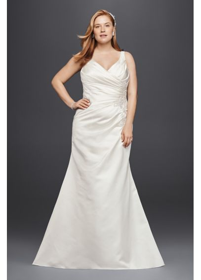 Satin Pleated Plus Size Mermaid Wedding Dress 4XL9WG3809