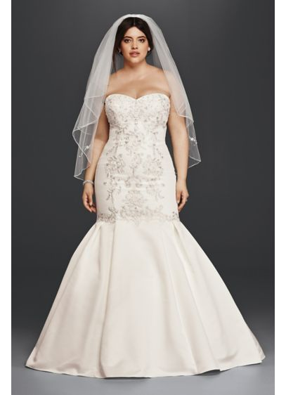 Plus size mermaid wedding dress with fitted bodice for Fitted wedding dresses for plus size