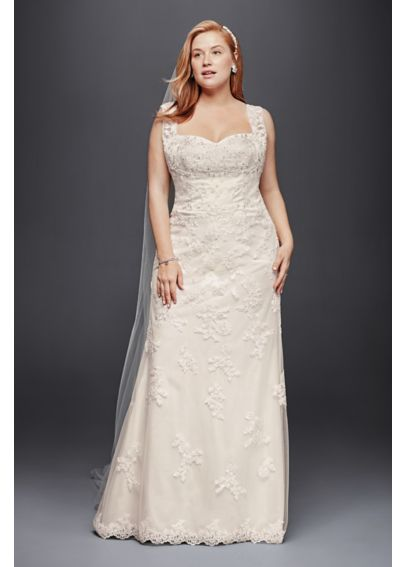 Plus Size Tank Wedding Dress with Scalloped Edges 4XL9WG3816