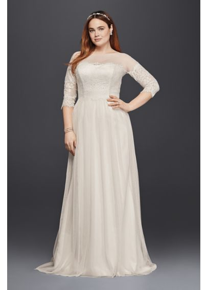 Plus Size Tulle Wedding Dress with Sheer Sleeves 4XL9WG3817