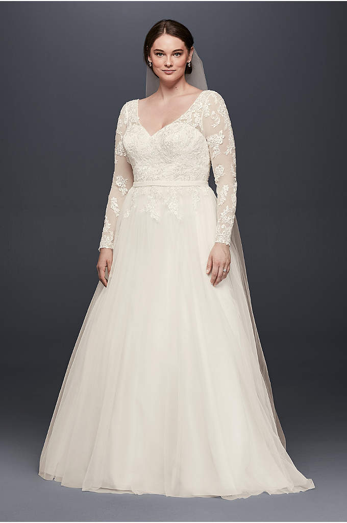 V-Neck Long Sleeve Wedding Dress With Low Back - Illusion mesh sleeves strike a lovely balance between