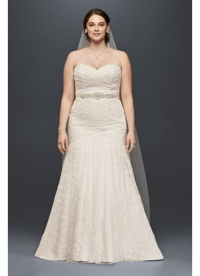 Strapless mermaid plus size wedding dress davids bridal for Davids bridal beach wedding dresses