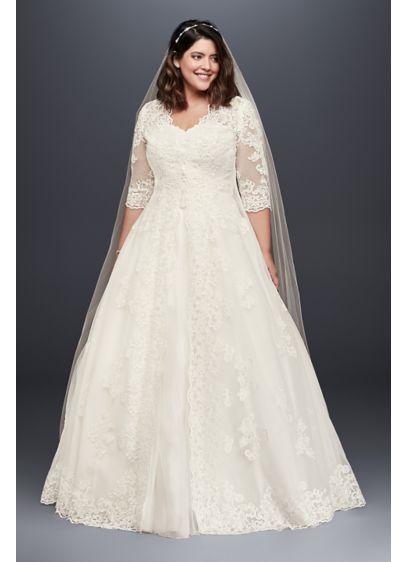 Organza plus size wedding dress with long topper david 39 s for Long sleeve wedding dress topper