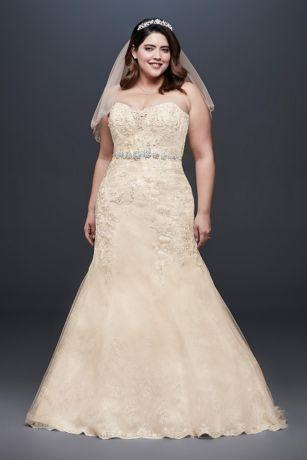 Plus Size Mermaid Wedding Dress with Beaded Lace - This mermaid wedding dress is infused with intricate