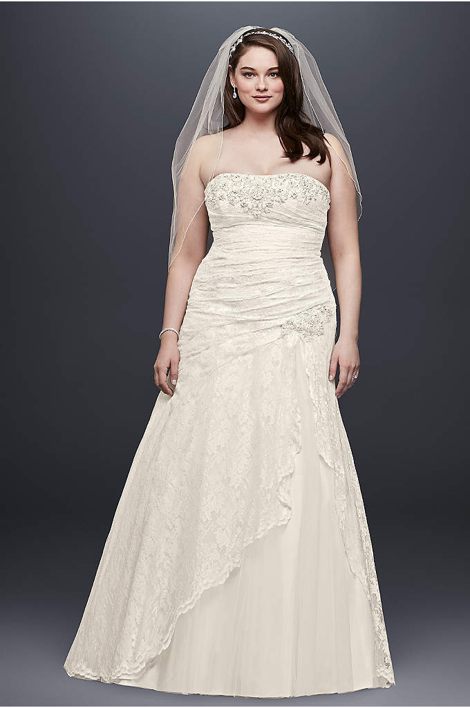 Lace Strapless Plus Size A Line Wedding Dress - Effortlessly beautiful, this lace gown combines modern trends