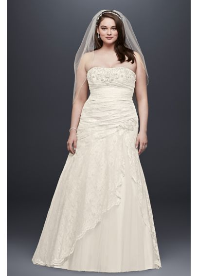 Lace Strapless Plus Size A Line Wedding Dress 4XL9YP3344